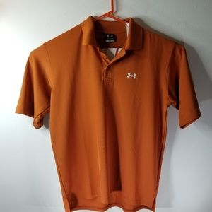 Under Armour Men's Dark Orange Polo Shirt Size M